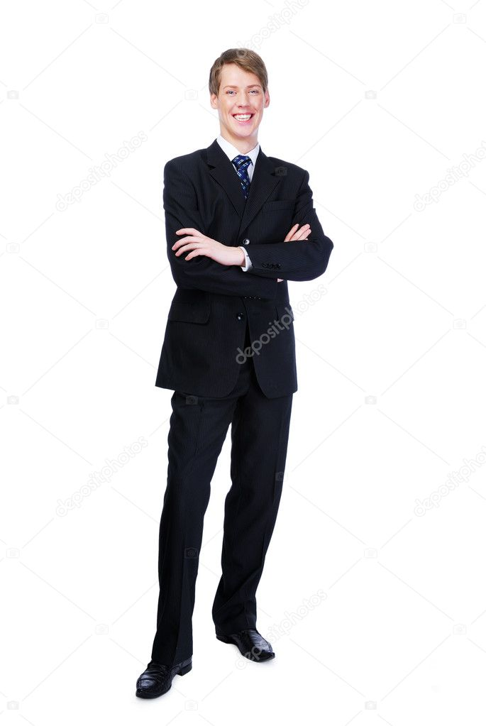 Young businessman with crossed hands standing against -  on white  — Stock Photo #1460638