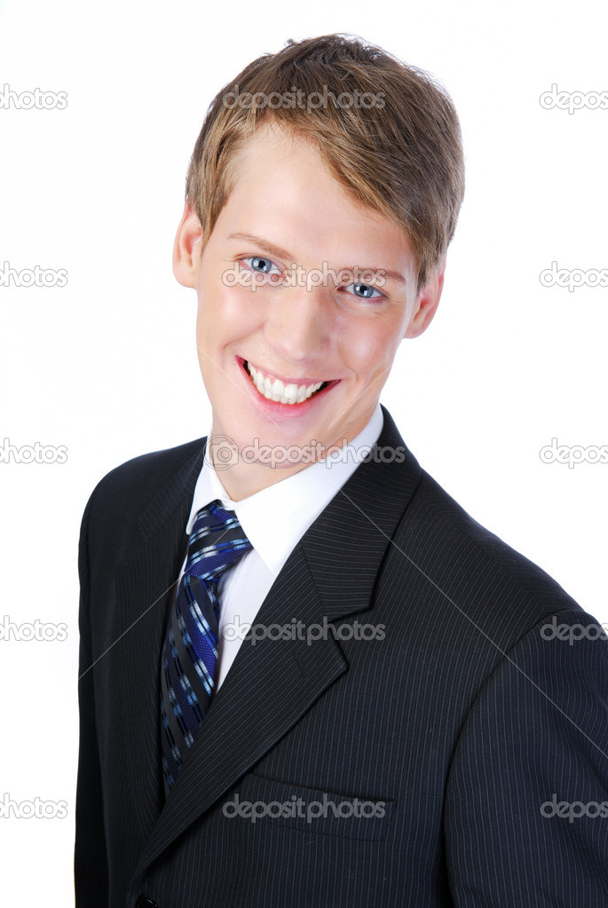 Portrait of young smiling successful businessman . On white background — Stock Photo #1460664