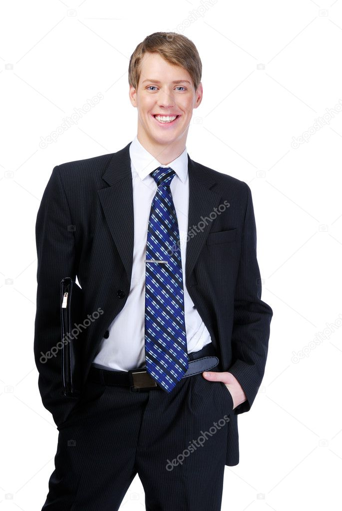 Happy young man  dressed in black suit. Smiling successful businessperson  on white background — Stock Photo #1460747