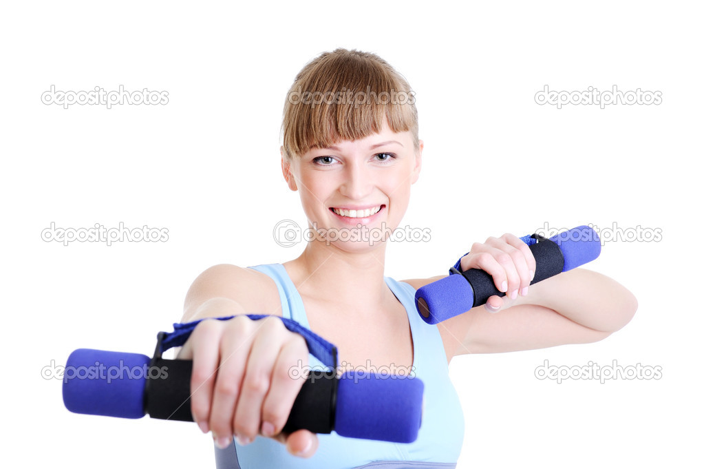 Portrait of beauty laughing girl doing exercise with dumbbells — Stock Photo #1461016