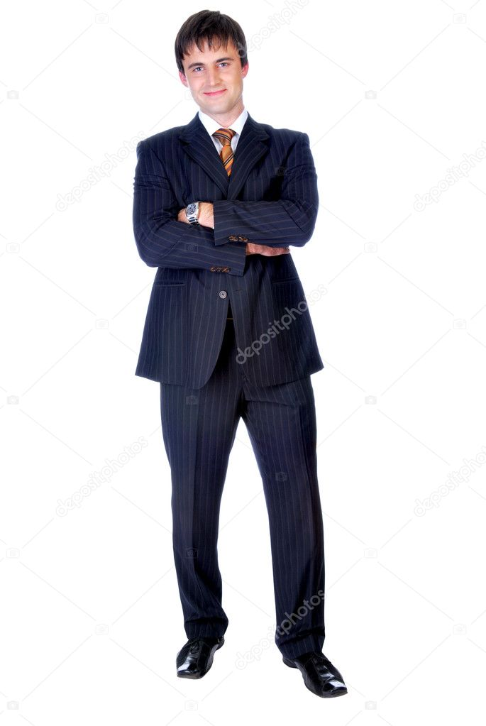 Businessman standing up straight  on a  white background — Stock Photo #1461229