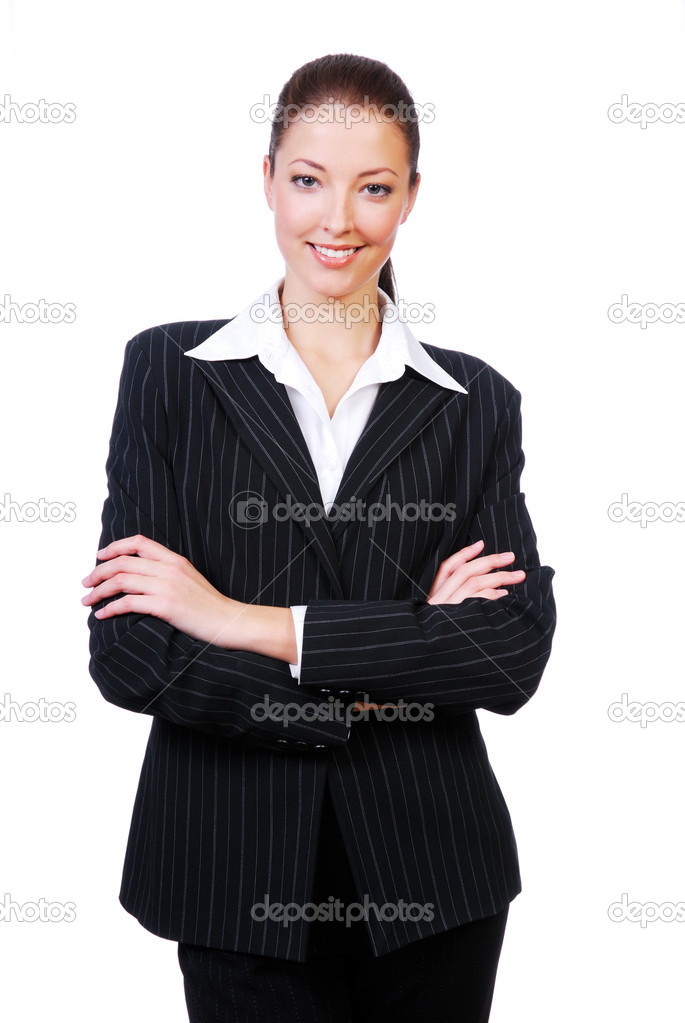 Successful cute businesswoman with crossed arms standing on a white background — Stock Photo #1461352