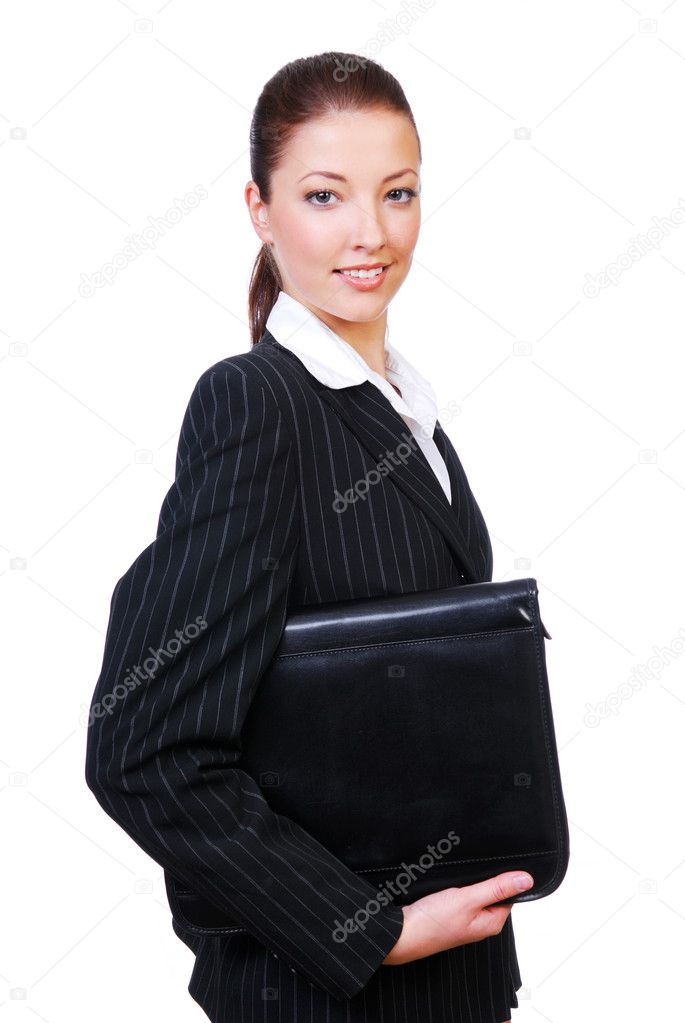 Businesswoman holding the black folder on a white background  Stock Photo #1461360