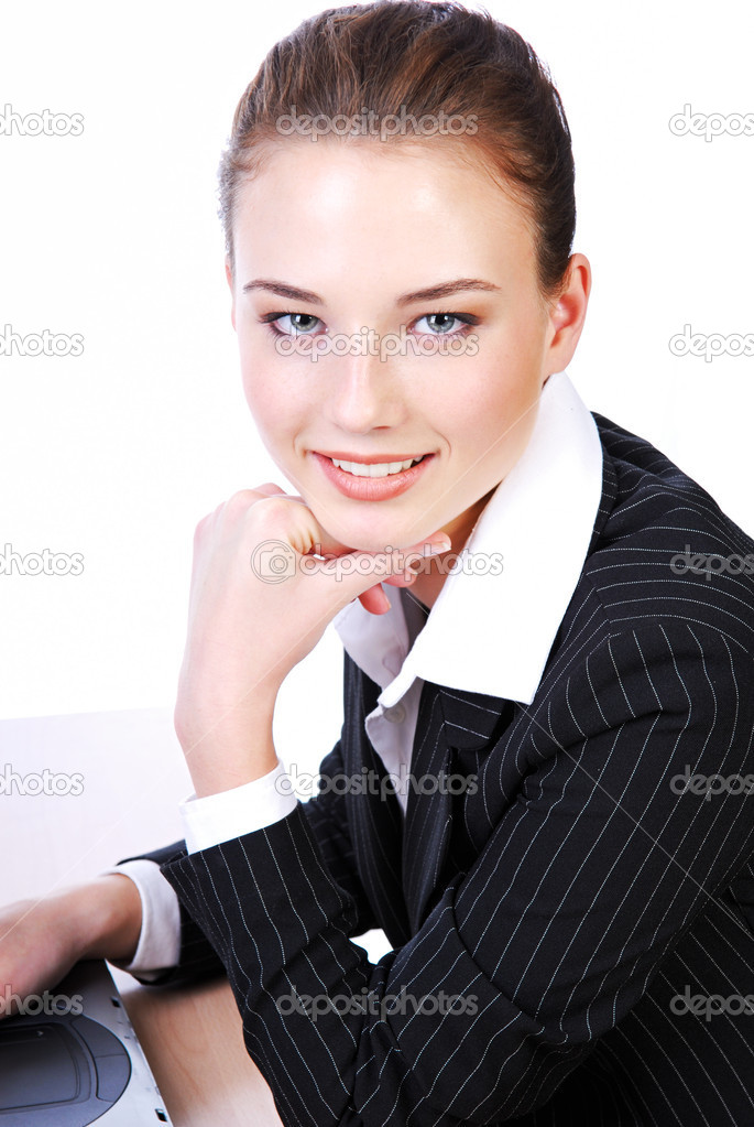 Attractive close-up cheerful face of businesswoman in black suit — Stock Photo #1461628