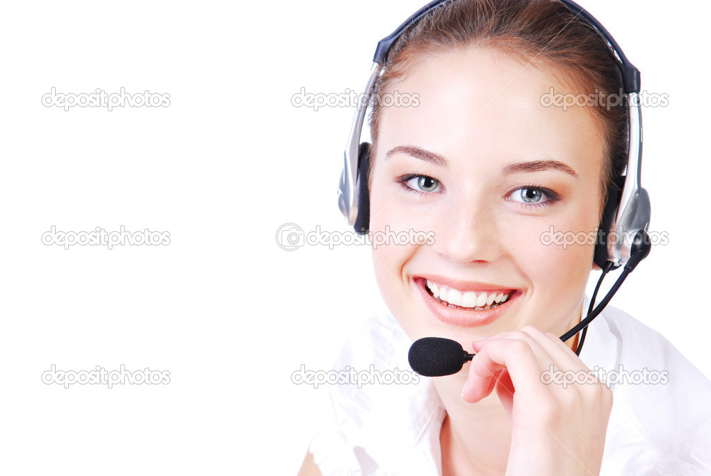 Young adult cute operator in the  headset. Stuido shot on a white background — Stock Photo #1461649