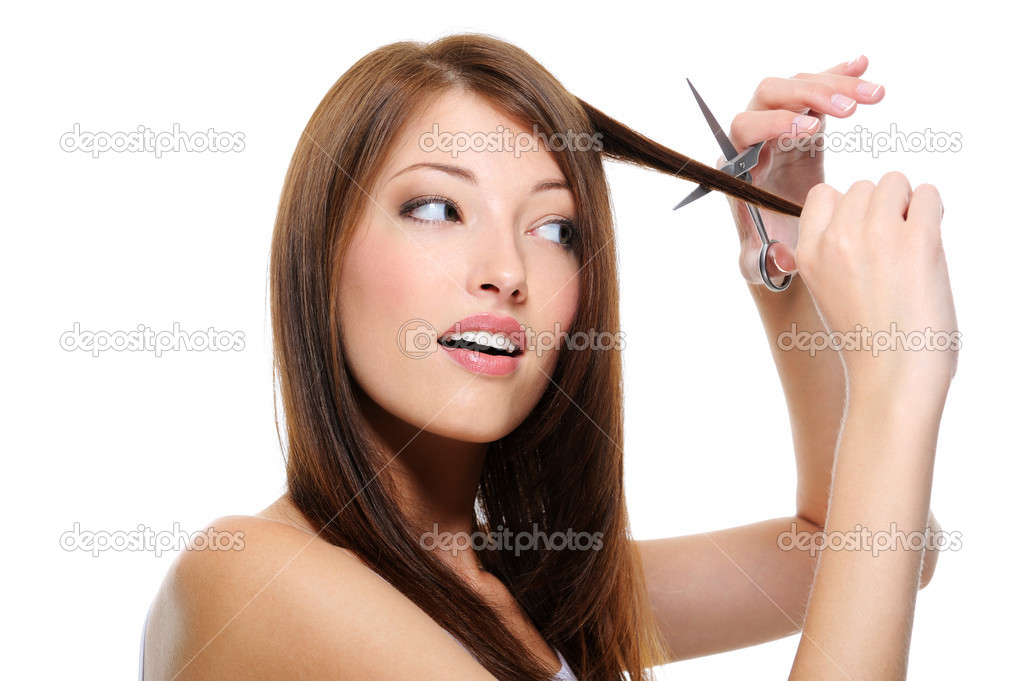 Beautiful Hair Cutting : Girl beautiful straight hair cutting ? Stock Photo ? valuavitaly ...