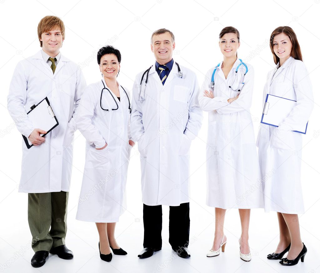 Five happy successful smiling doctors standing together in row — Stock Photo #1462705