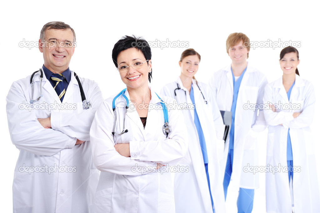 Group of five happy smiling cheerful doctors in hospital gowns — Stock Photo #1462745