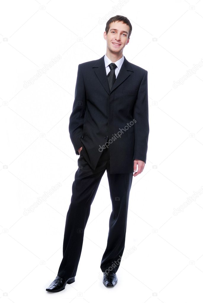Young adult  businessman standing against -  isolated white background — Stock Photo #1462859