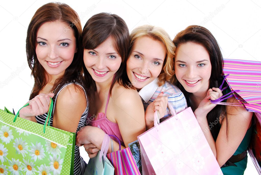 Group of happy cute smiling adult girls with shopping bags, high ange view. — Foto de Stock   #1463567