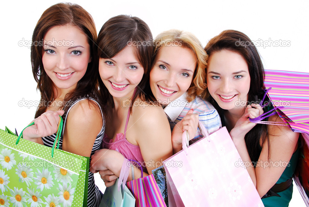 Group of happy cute smiling adult girls with shopping bags, high ange view. — Stok fotoğraf #1463567