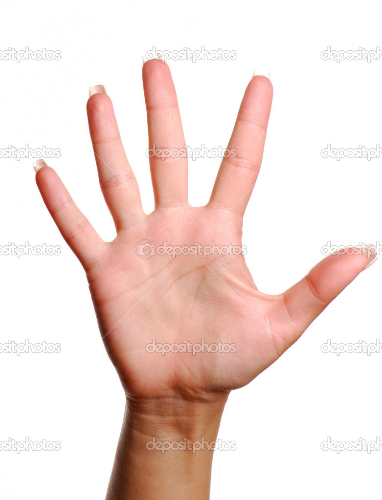 Woman hand. Gesture number five. Isolated object. — Stock Photo #1464221