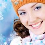 mutlu kış yüzünü — Stok fotoğraf