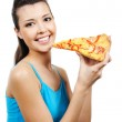 Woman holding piece of pizza — Stock Photo