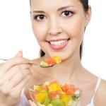 žena s ovocným dezertům — Stock fotografie