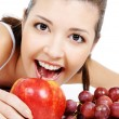 Stock Photo: Beauty girl and nice fruits