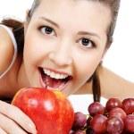 Beauty girl and nice fruits — Stock Photo