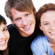 Portrait of  fun three students — Stock Photo
