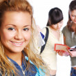 Young pretty female students — Stock Photo