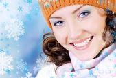 Happy winter face — Stock Photo