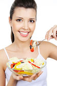 Cute woman with healty food — Stock Photo