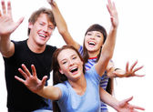 Happy teenagers with raised heads — Stock Photo