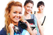 Young funny only female students — Stock Photo