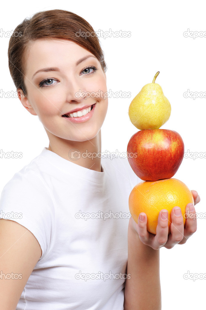 Beautiful female portrait with representation of fruits - isolated — Stock Photo #1477077