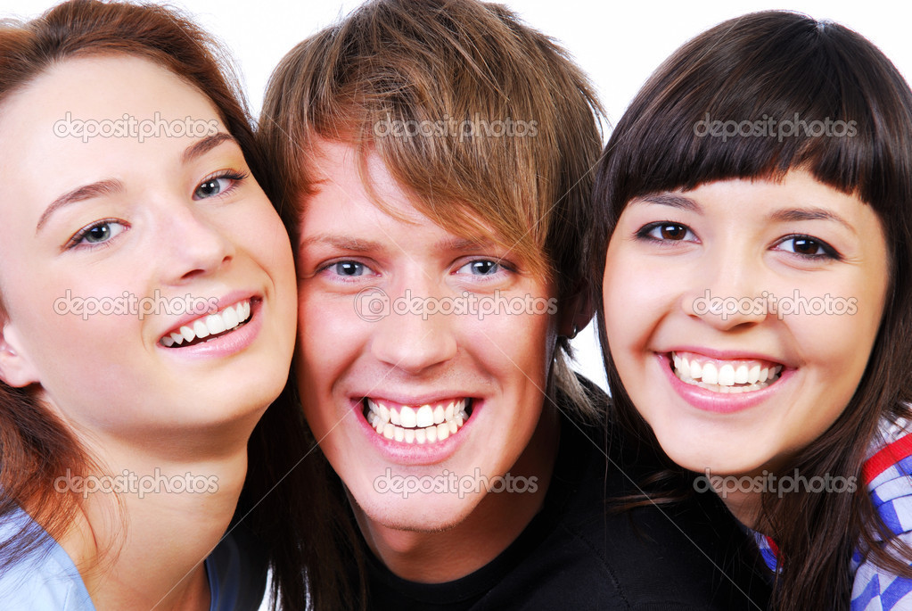 Close-up faces of crazy and funny students — Stock Photo #1478035