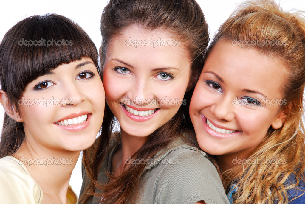 Portrait of the three beautiful happy young girls — Stock Photo #1478311