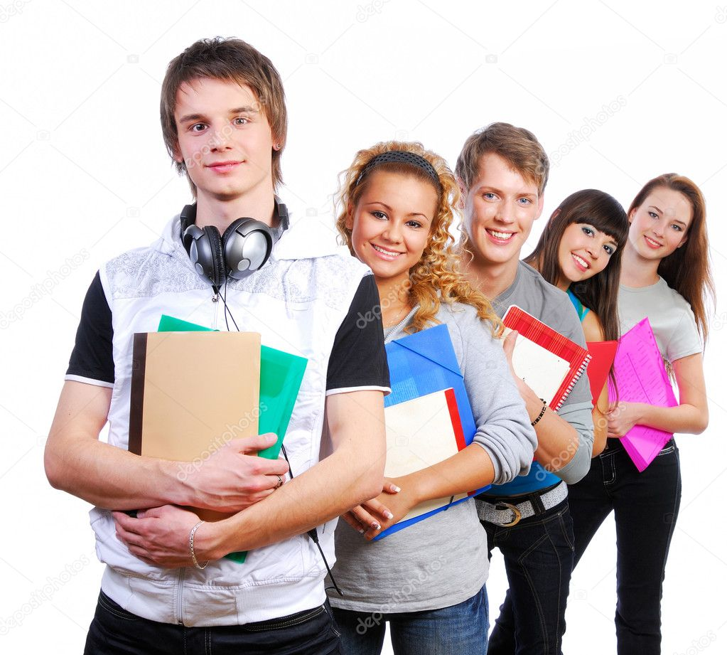 Group of  young  joyful students standing with book and bags  Stock Photo #1478564
