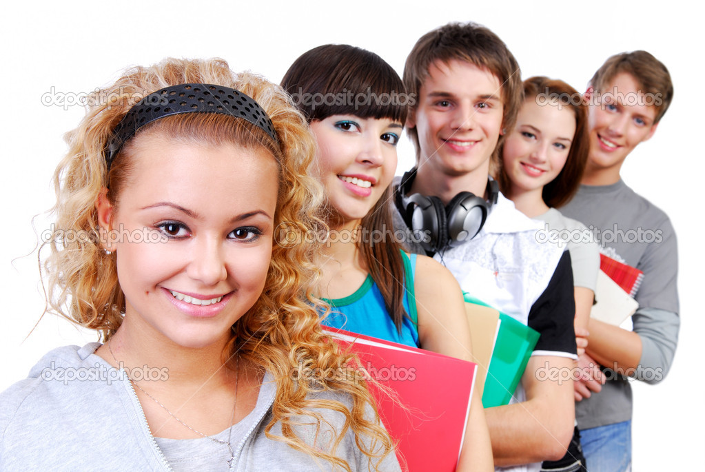 Row of smiling classmates with attractive girl student on foreground. — Stock Photo #1478588