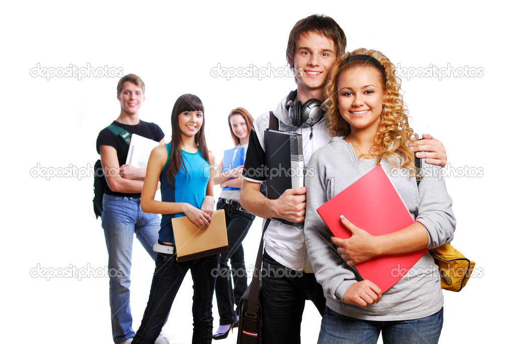 Couple of young clever students on foreground. Friends on the background  — Stock Photo #1478635