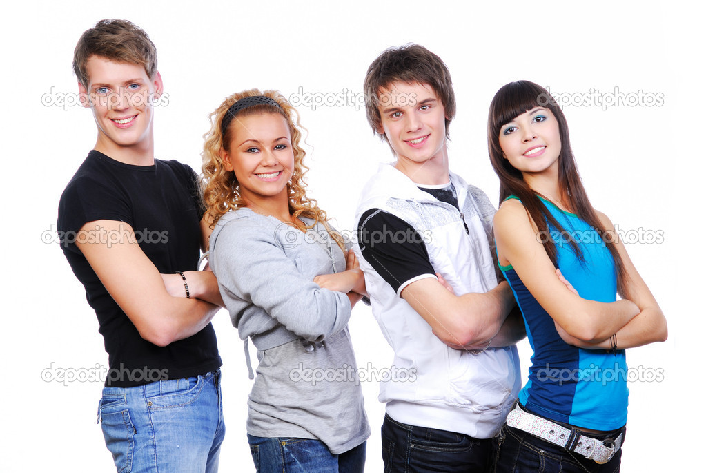 Portrait of four smiling young guys and girls — Stock Photo #1478657