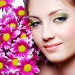 Royalty-Free Stock Photo: Face with pink flowers