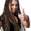 Pretty girl showing thumbs-up sign — Stock Photo #1485983