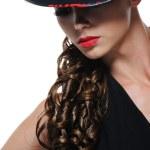 Portrait of elegant woman with black hat — Stock Photo