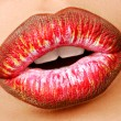 Multi colored lipstick. Close-up lips. — Stock Photo