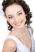 Smiling caucasian bride — Stock Photo