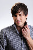 Beautiful man with straight hairstyle — Stock Photo