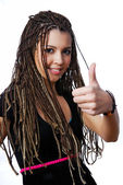 Pretty girl showing thumbs-up sign — Stock Photo