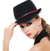 Beauty female fashionable glamour hat — Stock Photo