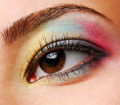 Yellow-Blue-Red eyeshadows — Stock Photo