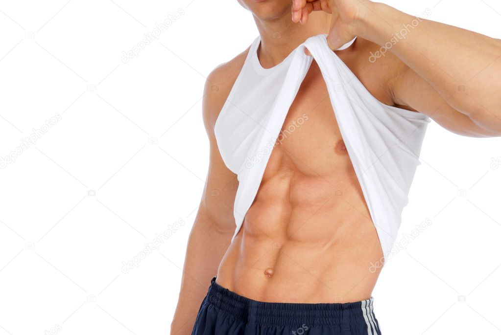 Man demonstrate his abdome muscles. Isolated on white. — Stock Photo #1487403