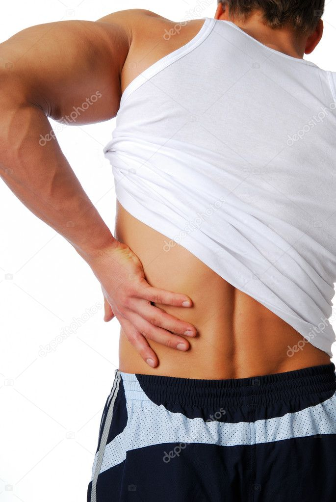 Backache. Human isolated on the white background. Back view. — Stock Photo #1487407