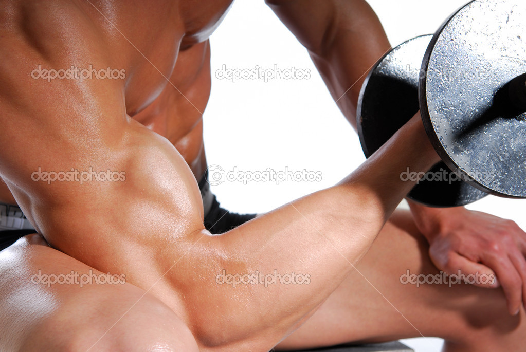 Biceps. Sport exercising for men. Isolated on white. — Stock Photo #1487449