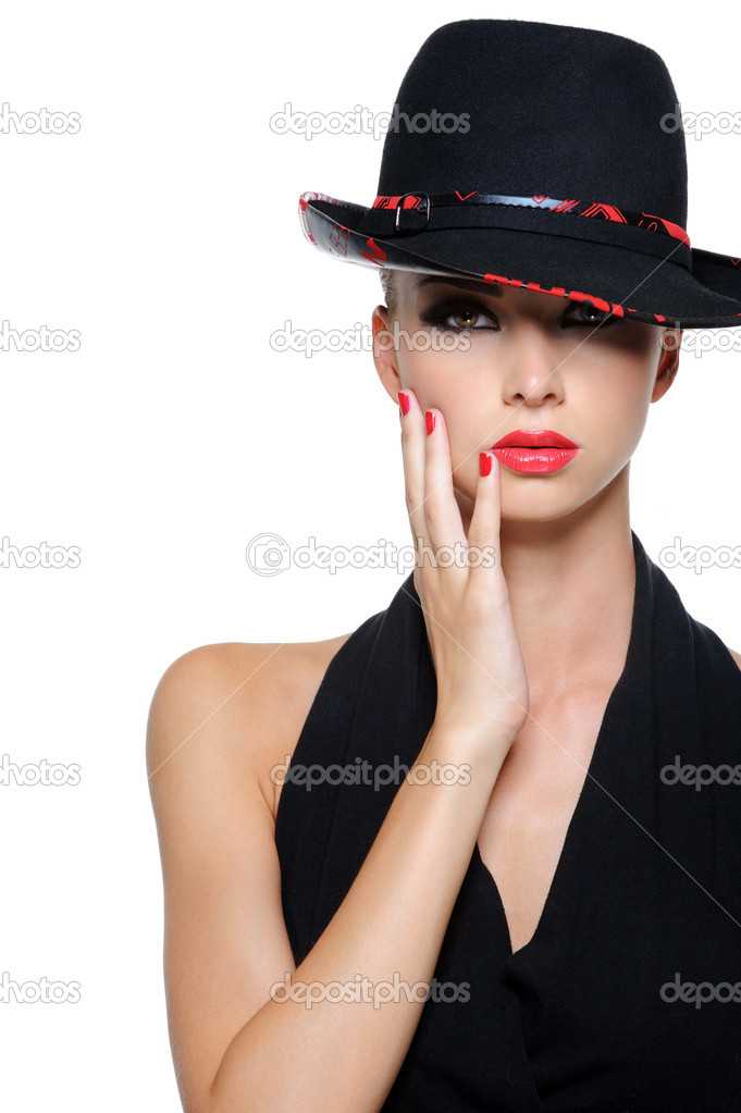 Glamour elegant sexy female with gorgeous black hat — Stock Photo #1487620