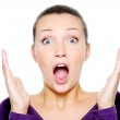 Screaming woman with hands up — Stock Photo
