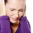 Female with strong headache — Stock Photo