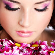 Woman face with flowers - Stock Photo